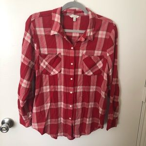 Lucky Brand Red Plaid Soft Flannel Large EUC